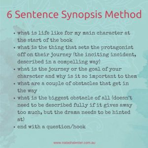 Click here to read Natasha Lester's blog post on synopses!